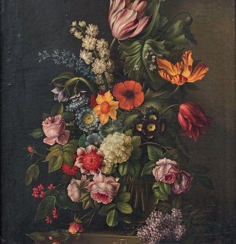 École FRANÇAISE du début du XIXe siècle Bouquet of flowers in a glass vase place…