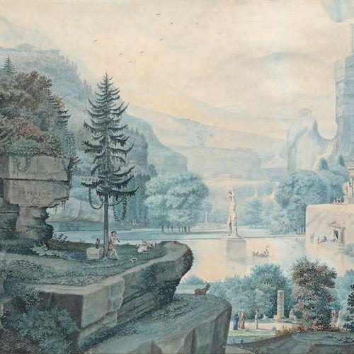 École FRANÇAISE de la fin du XVIIIe siècle Imaginary landscape, decorated with m…