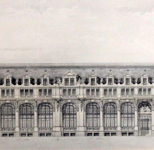 École FRANÇAISE du XXe siècle Façade details: elevation and cut Pen, wash and pe…