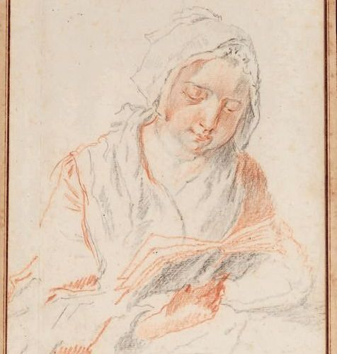 École FRANÇAISE du XVIIIe siècle Woman reading Black stone and blood. 22.5 x 17.…