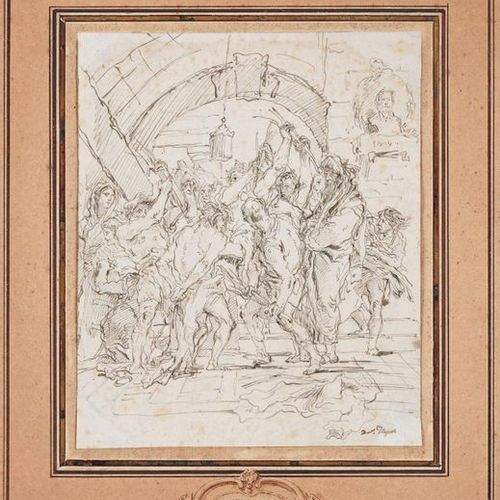 Giandomenico Tiepolo (1727 1804) Christ flogged Pen and black ink, signed lower …