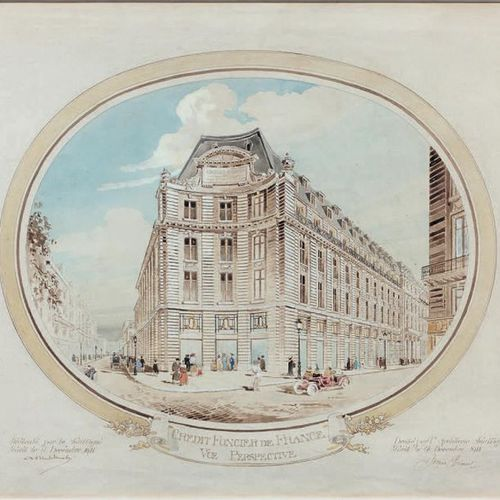 Jacques HERMANT (1855 1930) Perspective view of Crédit Foncier de France Waterco…