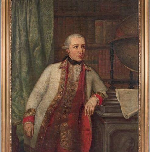 ECOLE AUTRICHIENNE DU XVIIIE SIECLE Portrait of a man in a library Oil on canvas…