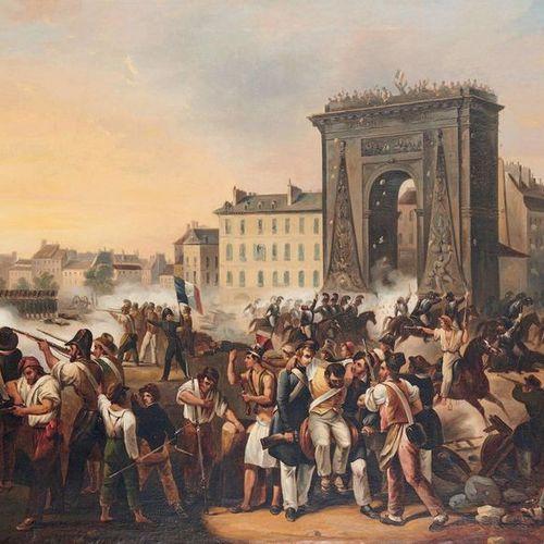 Atelier d'Hippolyte LECOMTE (1781 1857) Le combat de la porte Saint Denis, July …