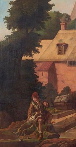 École Française du XIXe siècle Shepherd and his dog in front of the farm Oil on …