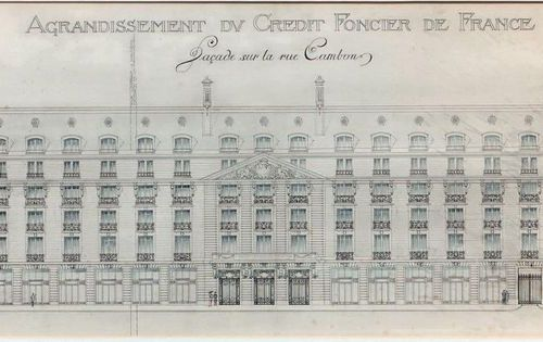 Charles MEWES (1858 1914) Façade project rue Cambon, hotel Ritz Feather, waterco…