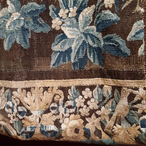 "Tapestry ""blue greenery"" decorated with a landscape with aristolochs, birds in a…"