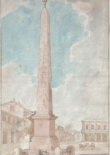 Ecole Italienne du XVIIIe siècle View of a square in Rome, decorated with an obe…