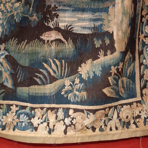 "Tapestry ""blue greenery"" decorated with a landscape with birds, watercourses and…"