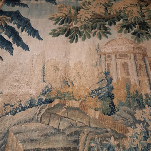 Tapestry in wool and silk decorated with a rotunda in a park with a staircase an…