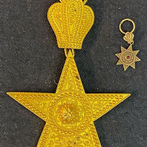 Ethiopia Order of the Star of Ethiopia, set of two : a gold miniature of a comma…