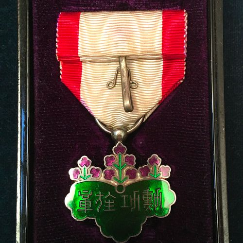 Japan Order of the Rising Sun, founded in 1875, 7th class silver and enamel badg…