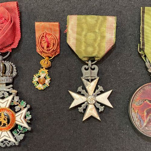 Belgium Order of Leopold, set of four: a knight's cross with military title, man…