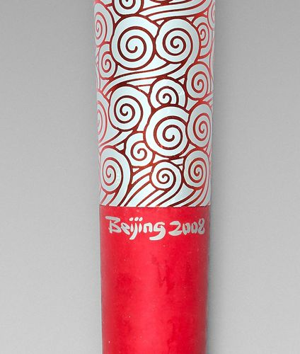 Olympism Torch of the 2008 Beijing Olympic Games, in aluminium decorated with tr…