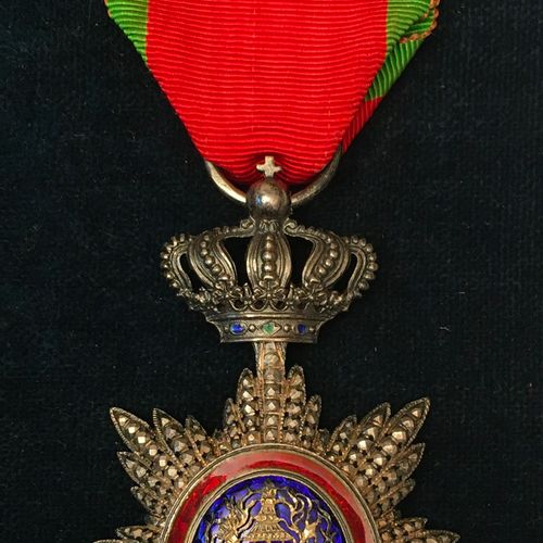 Cambodia Royal Order of Cambodia, founded in 1864, silver knight's jewel chased …