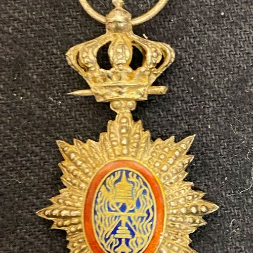 Cambodia Royal Order of Cambodia, silver and enamel miniature, boar's head stamp…