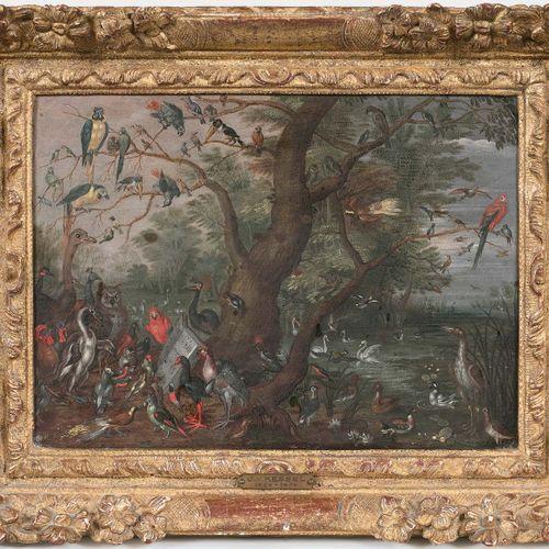 École ANVERSOISE du XVIIe siècle Allégorie de l'Ouïe ou Le concert des oiseaux H…