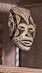 Masque agbo gho mmuo Igbo, Nigeria. Bois mi dur, pigments. (Accidents). Hauteur …