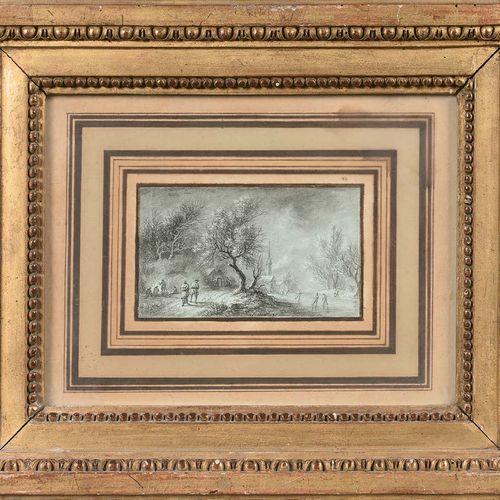 Aignan Thomas DESFRICHES (Orléans 1715 Orléans 1800) Scène d'hiver Pierre noire …