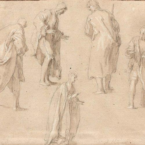 Abraham BLOEMAERT (Gorinchen 1566 Utrecht 1651) Études de cinq figures debout Pi…