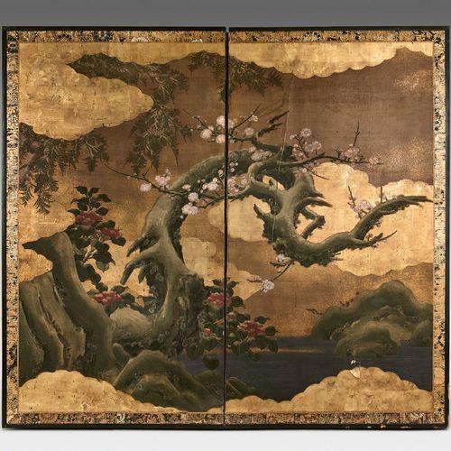 JAPON Époque Edo (1603 1868), XVIIIe siècle Paravent à deux feuilles, encre poly…