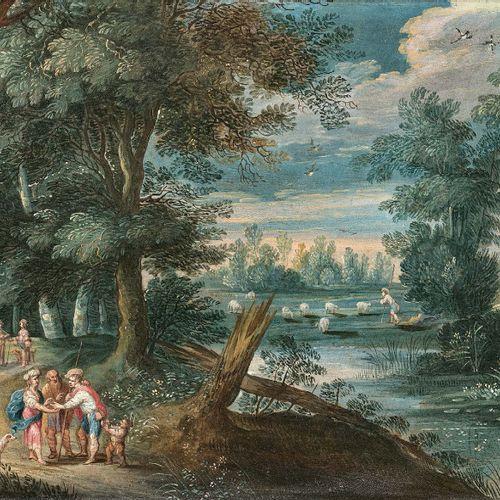 Jasper van der LAANEN (Anvers 1585 Anvers 1634) Paysage animé de personnages Deu…