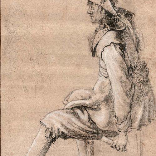 Attribué à Jacob DUCK (Utrecht 1600 Utrecht 1667) Militaire assis tenant une épé…