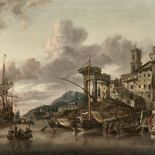 Abraham STORCK (Amsterdam 1644 Amsterdam 1710) Vue d'embarcadère et ruines (vue …