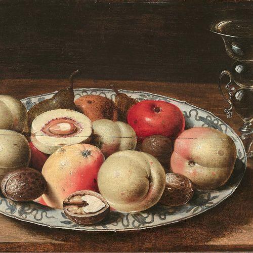 Osias BEERT (Anvers 1580 Anvers 1624) Assiette en porcelaine avec fruits et noix…