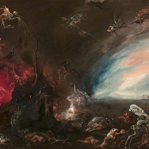 Attribué à Jacob Isaacsz van SWANENBURGH (Leyde 1571 Leyde 1638) Scène infernale…