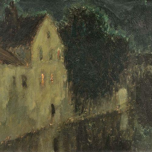 Henri LE SIDANER (1862 1939) Clair de lune, maison sur le canal, Bruges, 1899 Hu…
