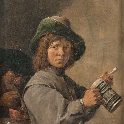 David II TENIERS (Anvers 1610 Bruxelles 1690) Portrait d'un jeune fumeur Huile s…