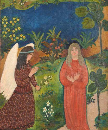 Guy BERTIN Annonciation Huile sur toile, signée vers le bas à droite. 81 x 45 cm
