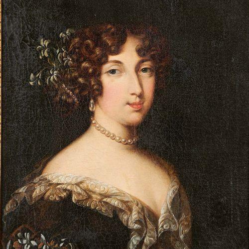 École FRANÇAISE de la fin du XVIIIe siècle Portrait de femme Huile sur toile, re…