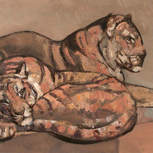 Paul JOUVE (1878 1973) Deux tigres couchés, vers 1955 Technique mixte sur carton…