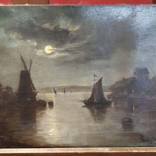 PIGALE Clair de lune sur le canal au moulin Huile sur toile, signée en bas à dro…