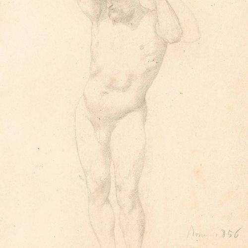 Edgar DEGAS (1834 1917) Étude de nu, 1856 Dessin au crayon noir et à l'estompe, …