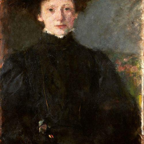Olga BOZNANSKA (1865 1940) Étude de jeune fille en noir Huile sur carton, signée…