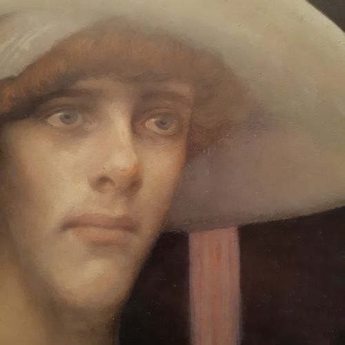 Léonard SARLUIS (1874 1949) Portrait au chapeau blanc, 1911 Huile sur carton con…