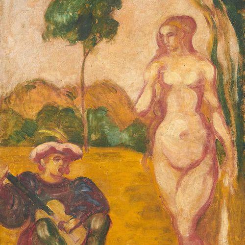 Emile BERNARD (1868 1941) Le troubadour et sa muse, 1895 Huile sur toile, signée…
