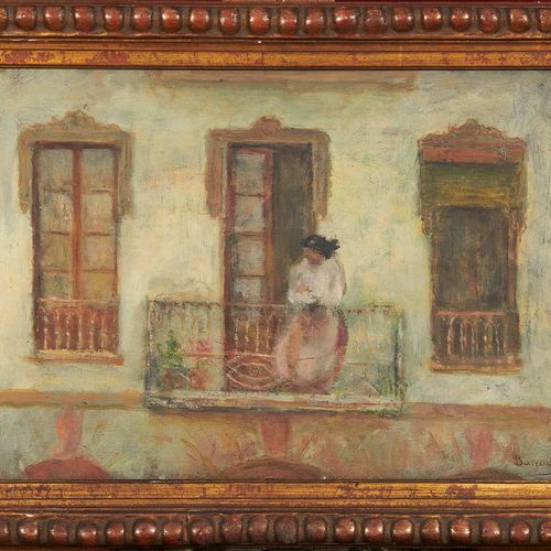 Benito BARRUETA ASTEINSA (1873 1953) Femme à son balcon Huile sur toile, signée …