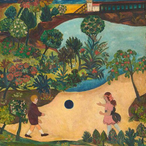 Guy BERTIN Jeu de ballon Huile sur toile, signée en bas vers la gauche. 73 x 60 …