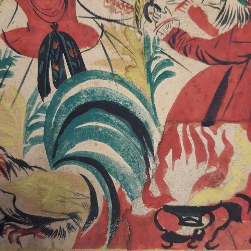 Ecole Moderne Scène de folklore slave Gouache et encre sur carton avec collage d…