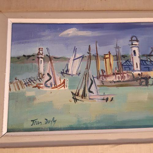 Jean DUFY (1888 1964) Entrée du port de Honfleur Huile sur toile signée en bas v…