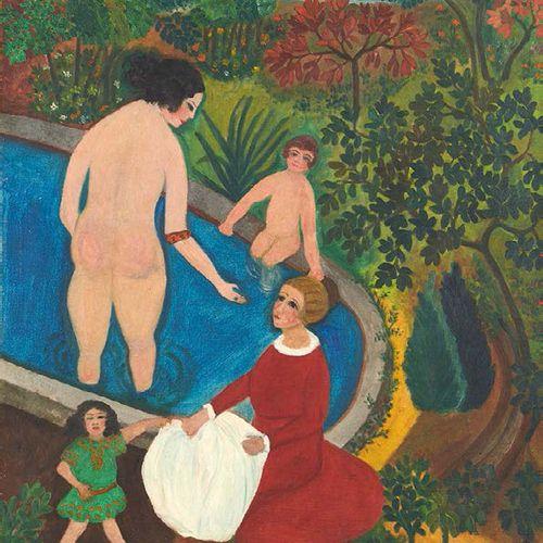 Guy BERTIN Le bassin Huile sur toile, signée en bas vers la droite. 81 x 65 cm