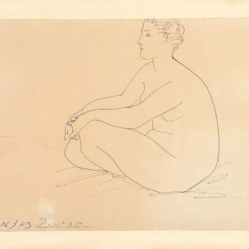 Pablo Picasso (1881 1973) Femme nue assise, 1943 Dessin à l'encre, signé et daté…