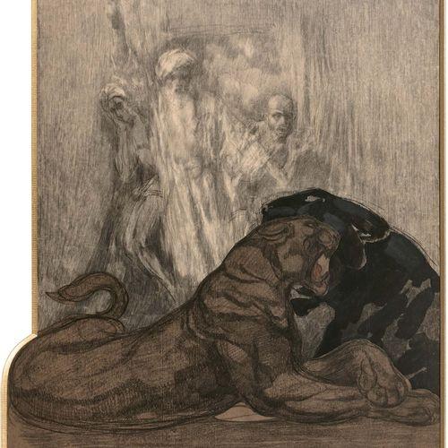 Paul JOUVE (1878 1973) Deux panthères Technique mixte, dessin au crayon noir et …