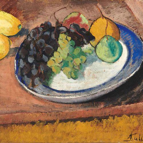 André UTTER (1886 1948) L'assiette de fruits aux raisins et poires Huile sur car…