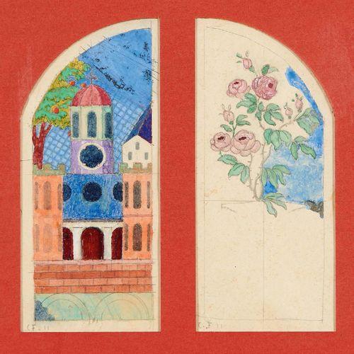 Charles FILIGER (1863 1928) L'église, 1911 Rosier, 1911 Deux aquarelles sur trai…