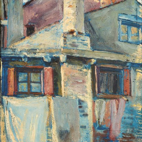 Georges DUFRENOY (1870 1943) Le linge Huile sur toile, signée en bas vers la gau…